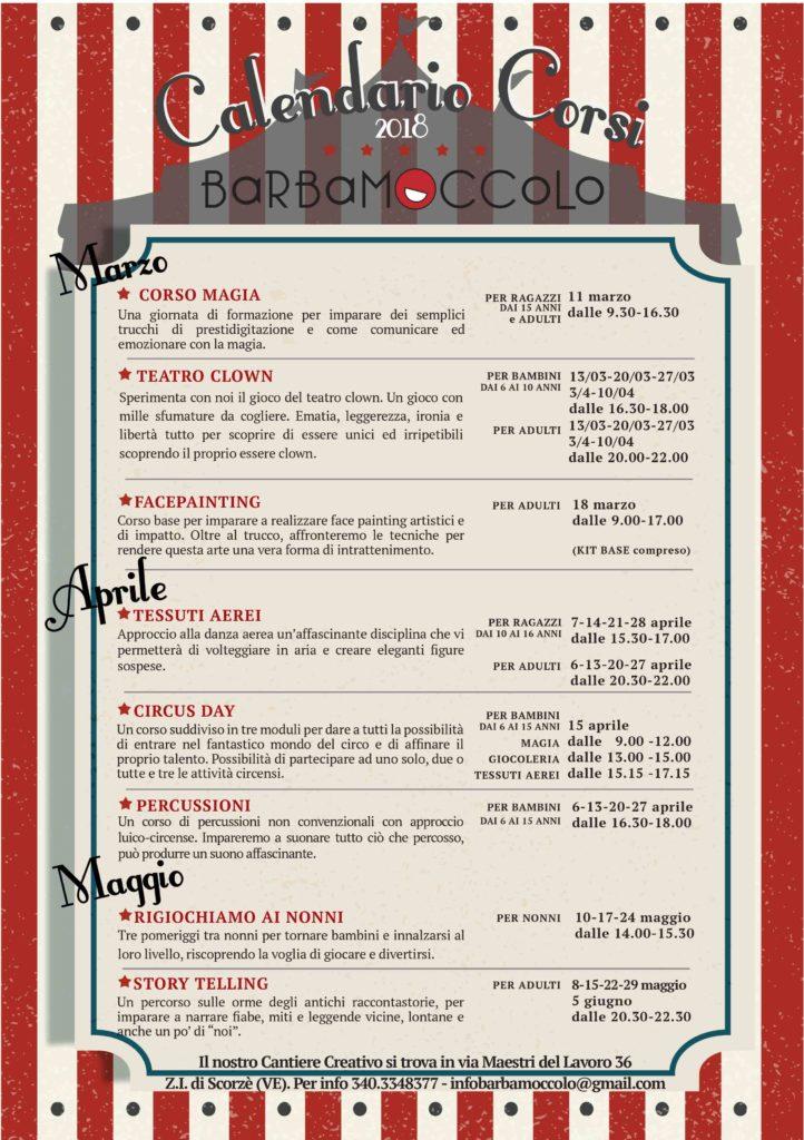 Calendario Corsi.Nuovo Calendario Corsi 2018 Barbamoccolo E Piccola